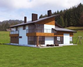 3D vizualizacijos pavyzdys. Gyvenamas namas. Užsakovas - privatus asmuo.