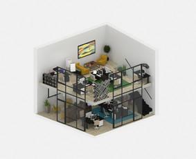 """3D vizualizacijos pavyzdys. Ofiso 3D planas """"Karaliaus Mindaugo Apartamentų"""" projektui Kaune. Užsakovas - UAB """"Kpc Nekilnojamasis Turtas""""."""