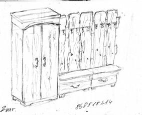 Eskizai medžio baldams. Vėliau vizualizacija, gamybiniai brėziniai.