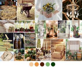 Rustic stiliaus vestuvių dekoras
