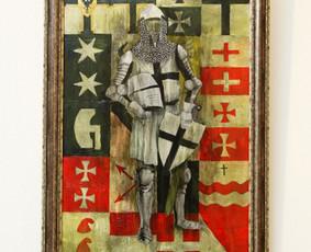 """""""Teutonas"""", 60x100 cm, drobė, aliejus """"Tais laikais kiekvienas save gerbiantis riteris nusitapydavo prie rėmėjų vėliavų. Taip gimė paprotys fotografuotis prie tokių sienelių su viskok ..."""