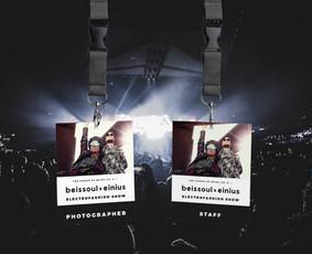 """Muzikos grupės koncerto """"Beissoul&Einius"""" darbuotojų kortelių dizainas"""