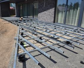WPC terasinių lentų montavimas ant dvigubo karkaso
