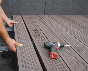 Medienos ir plastiko kompozito terasinių lentų montavimas