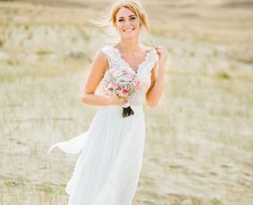 Individualiai kurta nuotakos suknelė su sijonu