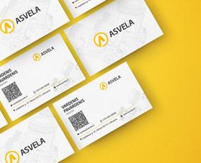 """UAB """"Asvela"""" vizitinės kortelės maketas"""