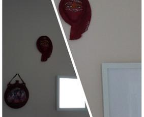 Įvairių daiktų, suvenyrų, dekoracijų ir paveikslų kabinimas