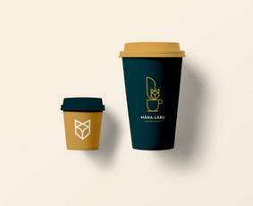 """Kavinės """"Manu Labu"""" puodelio išsinešimui dizainas"""