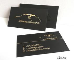 Vizitinė kortelė folijuota auksu ir laminuota