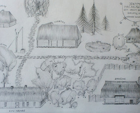 Senos sodybos (nebeegzistuojančios) eskizas iš prisiminimų. A2 formatas, popierius, pieštukas. 2019m.