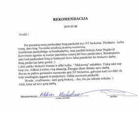 Sertifikuotas nekilnojamojo turto brokeris Vilniuje / Artur Bogdevič / Darbų pavyzdys ID 661217