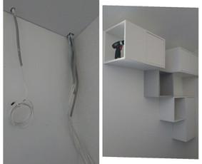 Laidų slėpimo būdas - Ikea spintelių kabinimas.