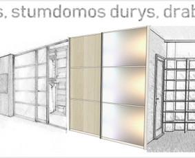 Stumdomos durys, spintos, drabužinės. Gamyba, projektavimas.