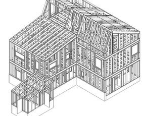 Dviejų butų karkasinis namas. Norvegija