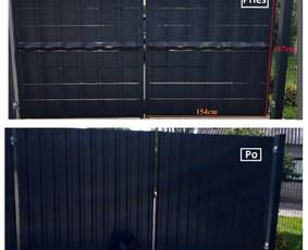 Pagrindinių vartų dangos keitimas, kad prisiderintų prie tvoros vaizdo.
