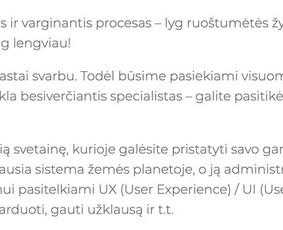 Paslaugų aprašas kosmoso tema. Nuo 5 Eur už trumpą jūsų paslaugos / produkto aprašymą, 20 Eur už jūsų veiklą ar vieną jos sritį pristatantį straipsnį.
