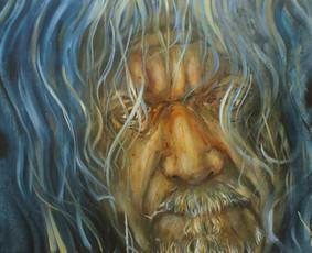 Parduodamas kūrybinis darbas. Robert Plant portretas. Drobė, aliejus. 59.5x84cm. 2019m.