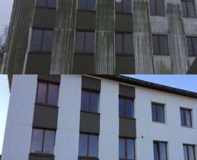 Autobokštelio nuoma. Pastatų fasadų plovimas