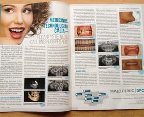 """Reklaminis odontologijos klinikos straipsnis žurnale """"Medicina"""""""