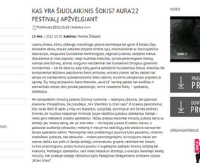 "Straipsnis 15min.lt apie šokių teatro ""Aura"" festivalį"