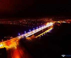 Naujo tilto atidarymas per Nemuną nuotrauka iš paukščio skrydžio. LT naujienų portalui