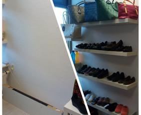 Lentynų prisukimas moteriškų drabužių, aksesuarų ir batų parduotuvėje.