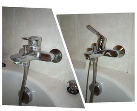 Vonios vandens maišytuvo keitimas nauju po 18 metų. Nors iš vaizdo to nepasakysi.