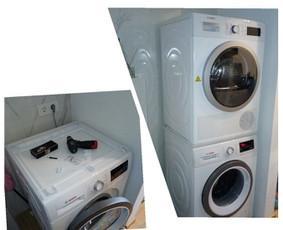 Džiovyklės pastatymas ant skalbimo mašinos su spec. rėmeliu ir pajungimas.