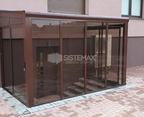 Terasų stiklinimas - stoginės, stumdomos aliuminio sienelės.