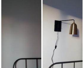 Daiktų kabinimas: lempos kabinimas virš lovos, bet nereikėjo pajunginėti.