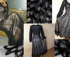 Ilga juoda suknutė megzta iš kid mocheros siūlų, sijono apačioje, kad geriau kristu, įnerti karolikai, galiu numegzti ir kitos spalvos bei reikiamo dydžio