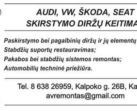 Audi Vw Seat Škoda skirstymo diržų keitimas