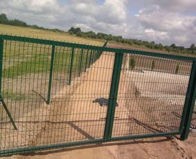 Standartiniai kiemo vartai su segmentiniu užpildu.