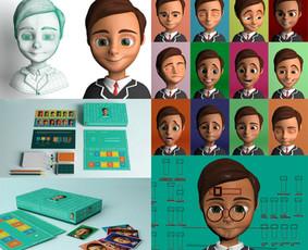 """,,Emotis"""" kortelių stalo žaidimas vaikams.  3D modeliavimas, renderinimas, tekstūrų kūrimas, personažo kūrimas, personažo animavimas."""