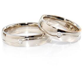 Balto aukso vestuviniai žiedai su briliantais