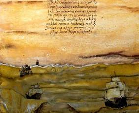 """""""Salacgryvos mūšis"""", drobė, aliejus 40x100 cm"""