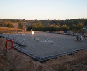 Plokštuminių pamatų montavimas, betonavimas