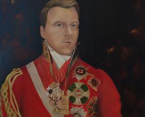 """Darbas pagal užsakymą. """"Portretas su generolo uniforma"""". Drobė, aliejus. 90x70cm. 2017m."""