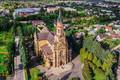 Vestuvių foto sesija šalia Vilniaus (Naujosios Vilnios) Šv. Kazimiero bažnyčios, vestuvių fotografavimas ir filmavimas iš drono, vestuvių fotografavimas dronu, vestuvių foto sesija iš drono