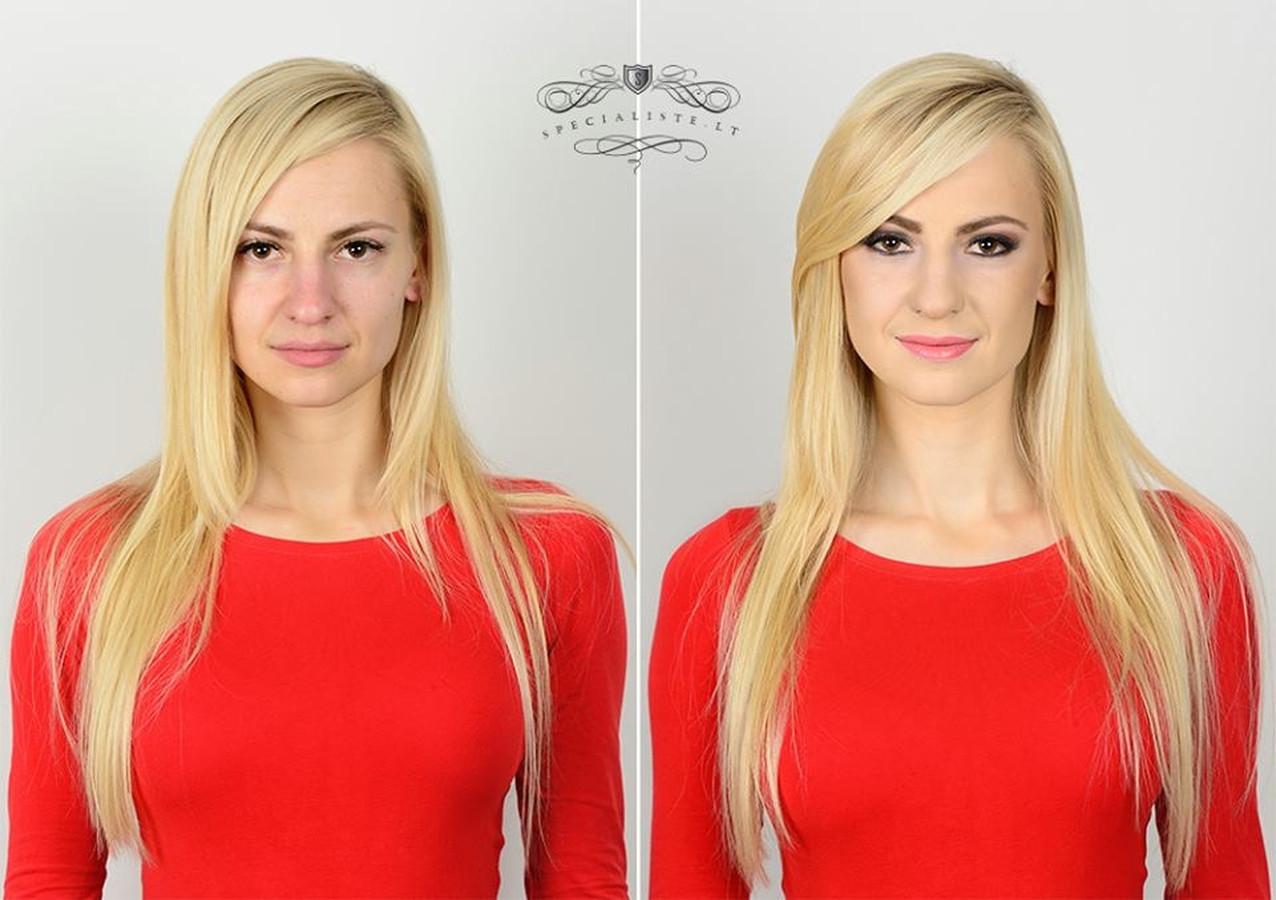 Prieš ir po profesionalaus makiažo - palyginamoji foto.  Makiažo/šukuosenos autorė Irina Binkevičienė