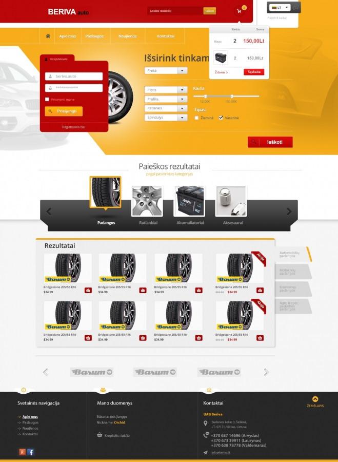Prie įvairių įrenginių prisitaikantis svetainės dizainas puslapiui beriva.lt.