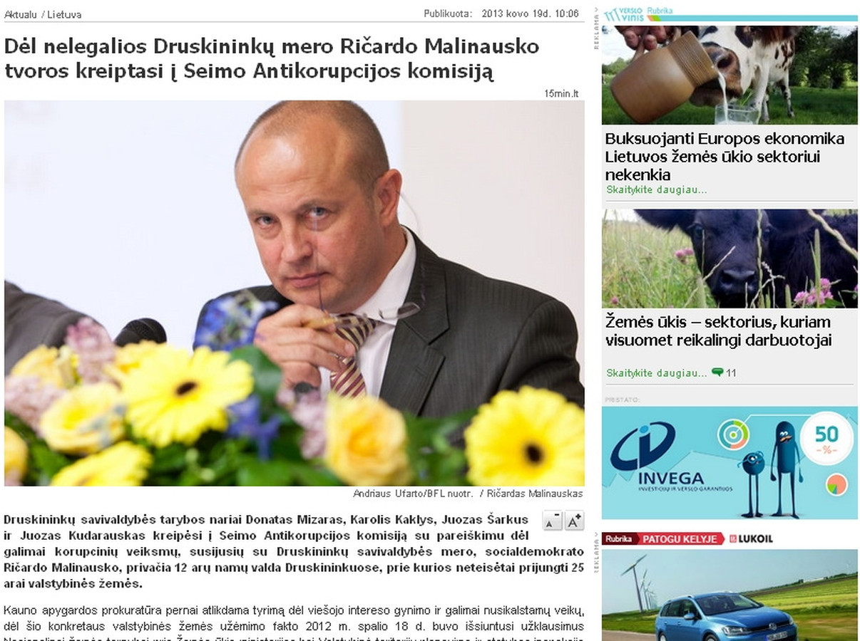 Portale 15min.lt publikuotas mano parengtas pranešimas spaudai apie tai, kad keturi Druskininkų savivaldybės nariai kreipėsi į Antikorupcijos komisiją dėl Druskininkų mero veiksmų. Pranešimą publikavo daugelis didžiųjų Lietuvos žiniasklaidos priemonių.