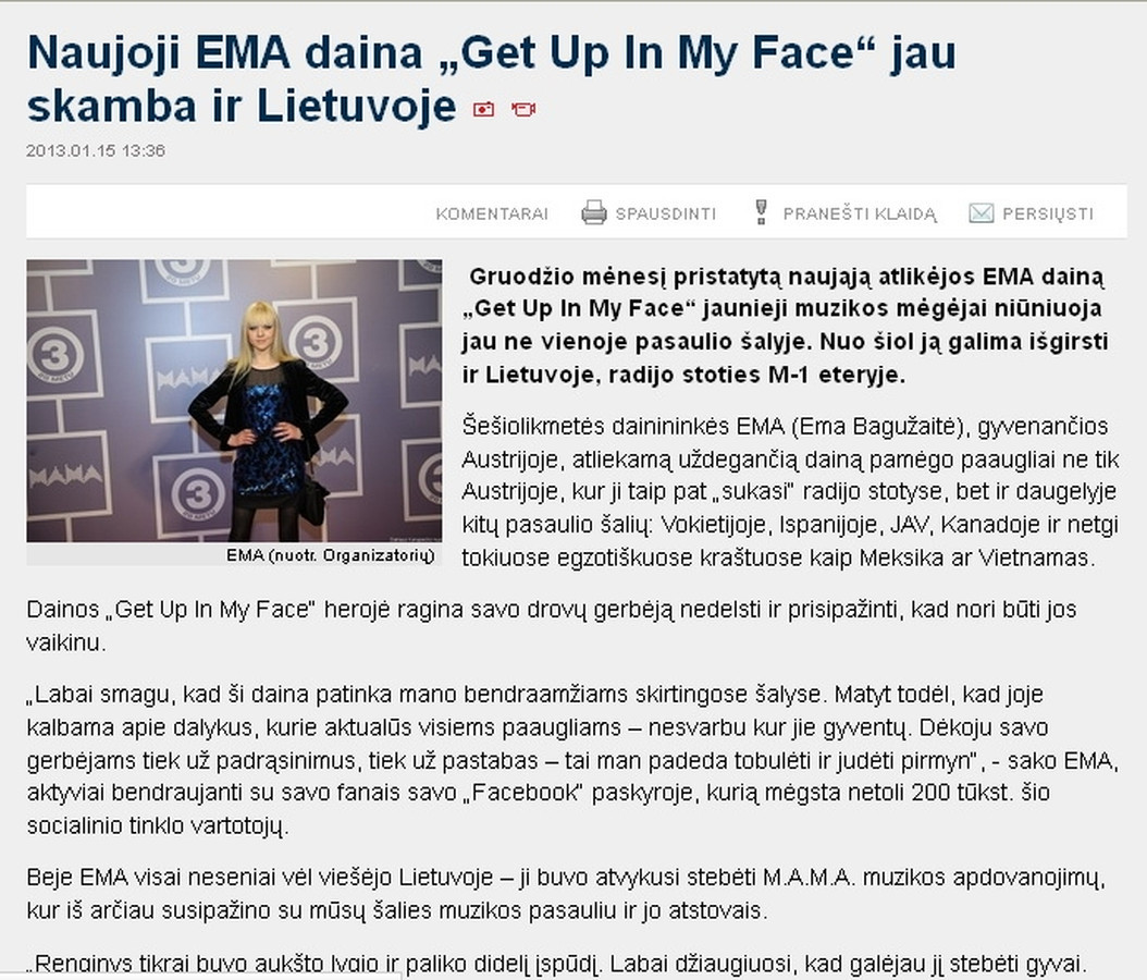Portale Balsas.lt publikuotas mano parengtas pranešimas spaudai apie naująją dainininkės EMA dainą. Pranešimą publikavo daugelis didžiųjų Lietuvos žiniasklaidos priemonių.