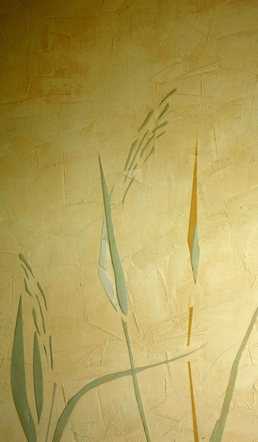 Sienų dekoravimas. Dekoruota siena. Reljefinis sienos dekoras. Augalinis motyvas. Decorated wall. Wall Decor. Embossed wall decor.
