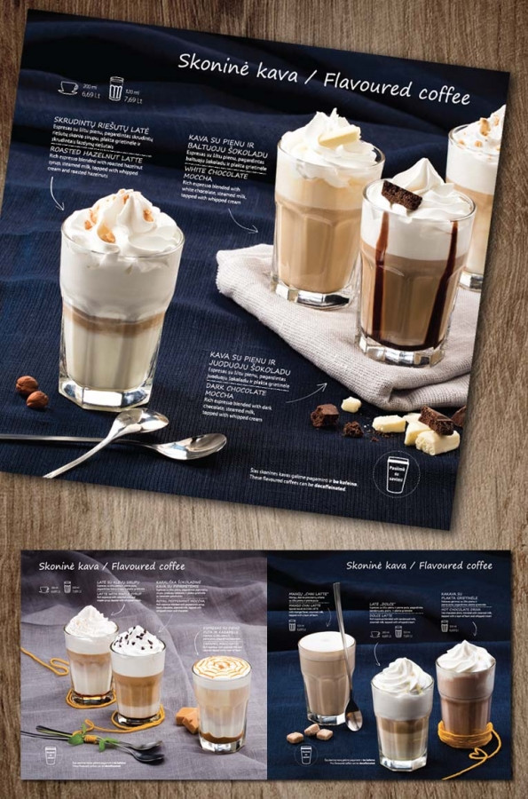 Skoninių kavų meniu | ČILI PICA Flavoured coffee menu | ČILI PICA