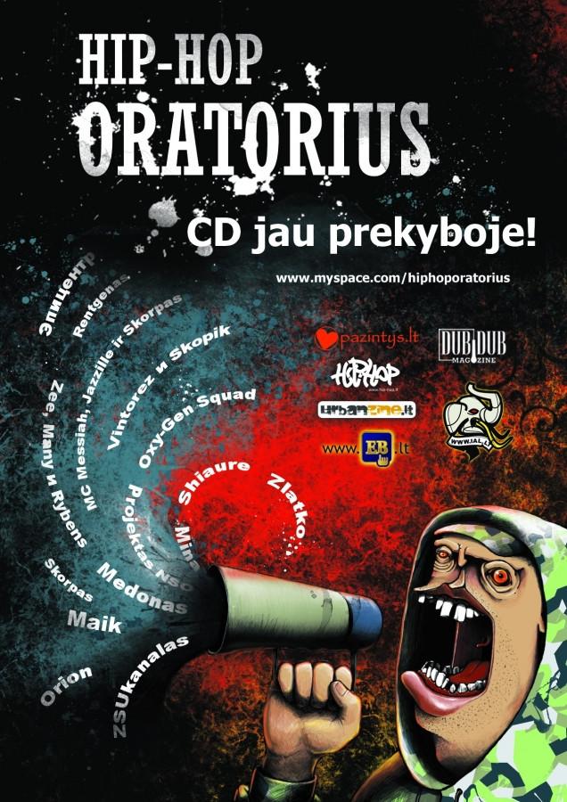 """Albumų leidyba ir reklama. Pristatymo suorganizavimas. (nuotraukoje: CD """"Hip-hop Oratorius"""" reklaminis maketas žurnalui """"Dubdub magazine""""; dizainas: Pav)"""
