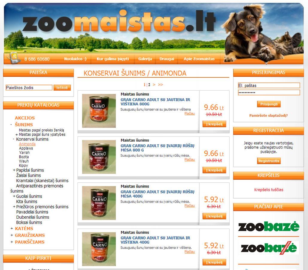 Naminių gyvūnų prekių el. parduotuvė www.zoomaistas.lt