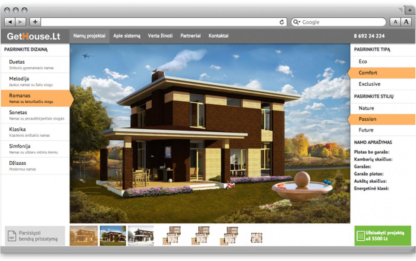 Architektūrinių projektų pardavimo svetainė