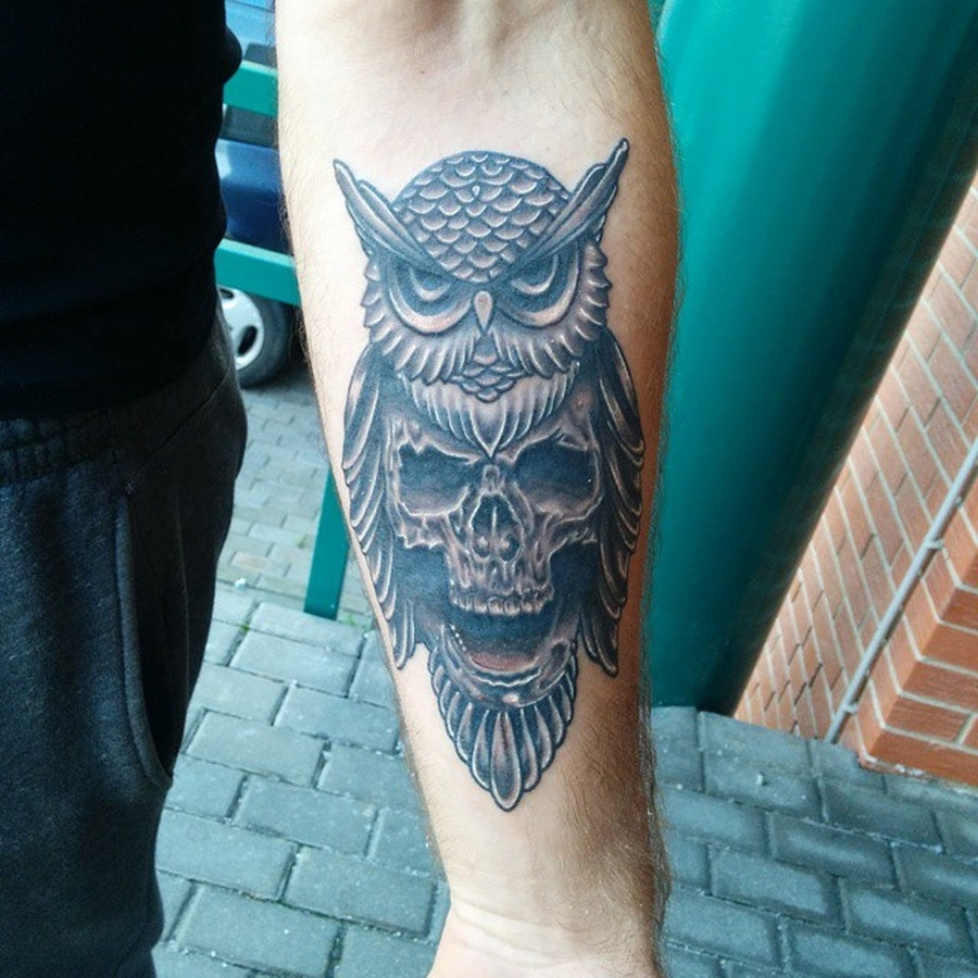 #LinasTattoo #Tattoo #PantheraInk #EternalInk #Owl #Skull #OwlSkull
