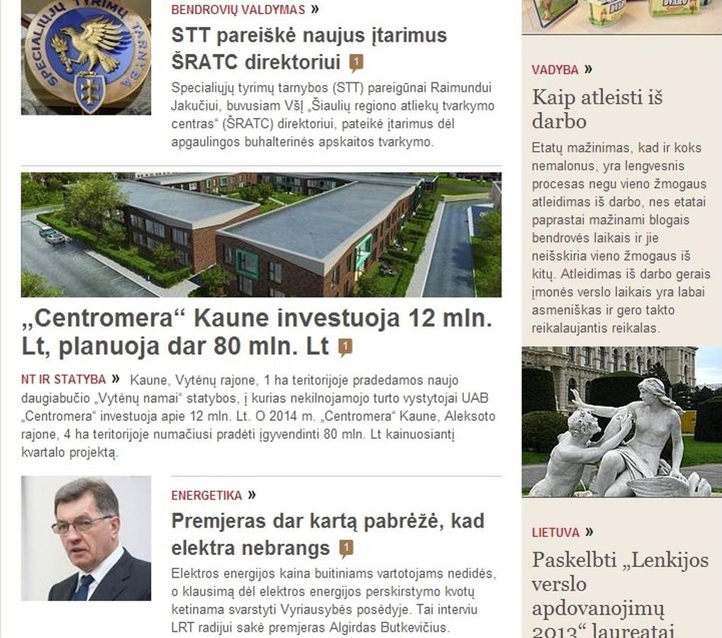 """Mano inicijuotas straipsnis apie UAB """"Centromera"""" investicijas - populiariausiame verslo naujienų portale vz.lt"""